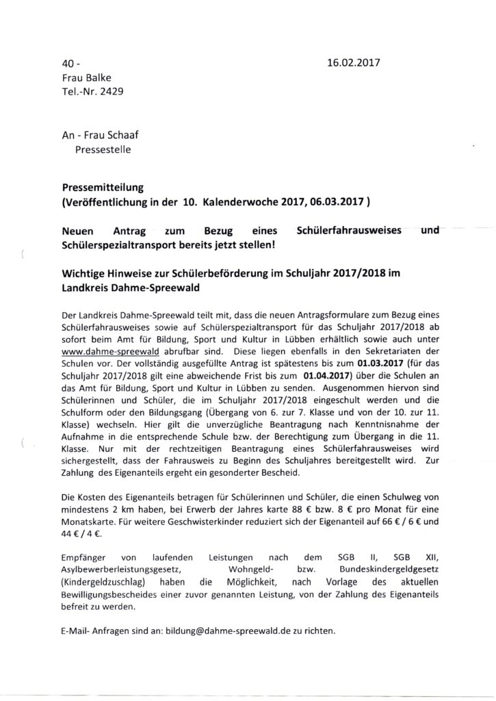 Pressemitteilung – Schülerbeförderung im Schuljahr 2016/17 ...